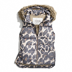 COACH F83991 - HOODED ANIMAL PRINT PUFFER VEST ONE-COLOR