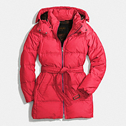 COACH F83993 Center Zip Puffer PINK SCARLET