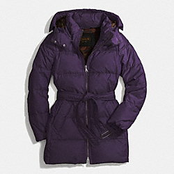 COACH F83993 Center Zip Puffer Jacket BLACK VIOLET