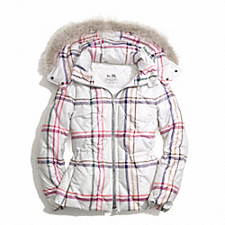 COACH F84053 Tattersall Short Puffer Jacket