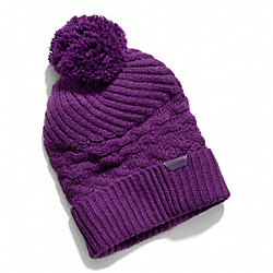 COACH F84069 Aran Knit Hat  BLACK VIOLET