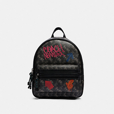 COACH F84225 VALE MEDIUM CHARLIE BACKPACK WITH HORSE AND CARRIAGE PRINT SV/BLACK-GREY-MULTI