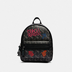 VALE MEDIUM CHARLIE BACKPACK WITH HORSE AND CARRIAGE PRINT - F84225 - SV/BLACK GREY MULTI