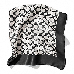 COACH SIGNATURE C 27X27 SCARF - BLACK WHITE/BLACK - F84270