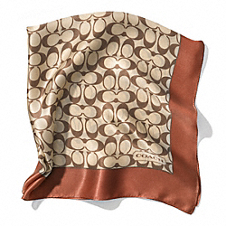 COACH F84270 Signature C 27x27 Scarf KHAKI/SADDLE