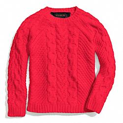 COACH F84281 Handknit Aran Crewneck Sweater FLARE