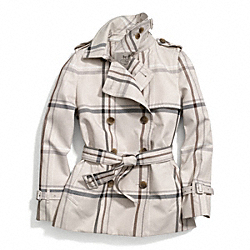 COACH F84298 - TATTERSALL SHORT TRENCH IVORY/MULTICOLOR