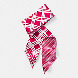 COACH F84333 Hand Drawn Plaid Ponytail Scarf PINK SCARLET