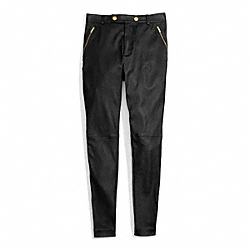 COACH LEATHER HIGH WAISTED TROUSER - ONE COLOR - F84388