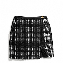 COACH F84390 Black And White Plaid Slouchy Wrap Skirt