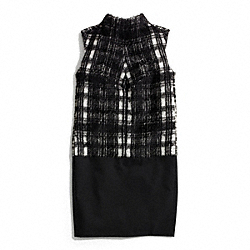 BLACK AND WHITE PLAID TUNIC DRESS - f84393 - F84393BKWT