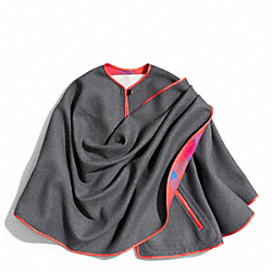 COACH GREY WITH RED TRIM WRAP CAPE - ONE COLOR - F84395