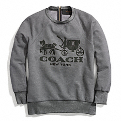 COACH F84402 - HORSE AND CARRIAGE SWEATSHIRT WITH LEATHER ONE-COLOR