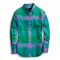 COACH COTTON VOILE BOY SHIRT - GREEN - F84409