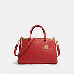 MIA SATCHEL IN COLORBLOCK SIGNATURE CANVAS - F84428 - IM/TRUE RED MULTI