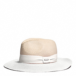 COACH F84541 Colorblock City Straw Fedora BONE