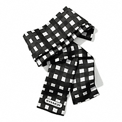 GINGHAM PONYTAIL SCARF - f84582 -  BLACK