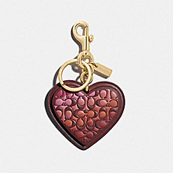 COACH F84593 Signature Stripe Heart Bag Charm GD/WINE
