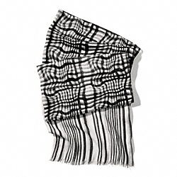 COACH F84609 Wavy Gingham Oblong Scarf BLACK