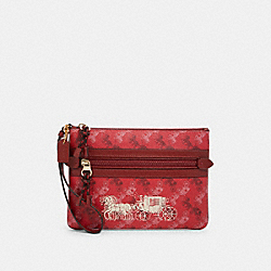 COACH F84635 - GALLERY POUCH WITH HORSE AND CARRIAGE PRINT IM/BRIGHT RED/CHERRY MULTI