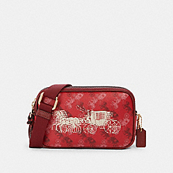 COACH F84639 Crossbody Pouch With Horse And Carriage Print IM/BRIGHT RED/CHERRY MULTI
