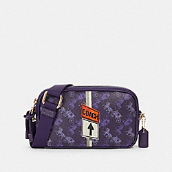 COACH F84639 Crossbody Pouch With Horse And Carriage Print IM/DARK PURPLE/LAVENDAR MULTI