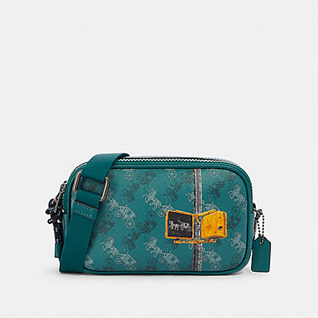 COACH CROSSBODY POUCH WITH HORSE AND CARRIAGE PRINT - QB/VIRIDIAN SAGE MULTI - F84639