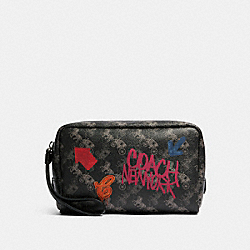 COACH F84641 - BOXY COSMETIC CASE WITH HORSE AND CARRIAGE PRINT SV/BLACK GREY MULTI
