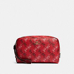 COACH F84642 Boxy Cosmetic Case With Horse And Carriage Print IM/BRIGHT RED/CHERRY MULTI