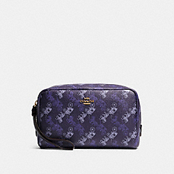 COACH F84642 - BOXY COSMETIC CASE WITH HORSE AND CARRIAGE PRINT IM/DARK PURPLE/LAVENDAR MULTI