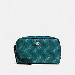 COACH F84642 Boxy Cosmetic Case With Horse And Carriage Print QB/VIRIDIAN SAGE MULTI