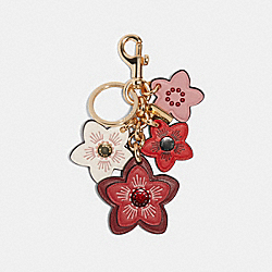 COACH F84659 Floral Cluster Bag Charm GD/DARK FUCHSIA MULTI