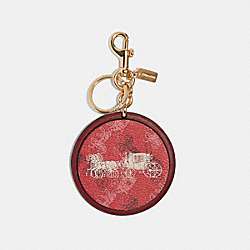 COACH F84664 - HORSE AND CARRIAGE PRINT BAG CHARM GD/CHERRY