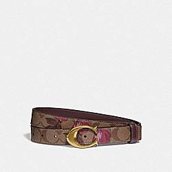 COACH F84668 - SIGNATURE BUCKLE BELT WITH VICTORIAN FLORAL PRINT, 25MM IM/KHAKI DARK FUCHSIA