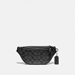 COACH F84711 Warren Mini Belt Bag In Signature Canvas QB/CHARCOAL/BLACK