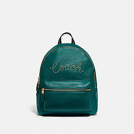COACH F84721 MEDIUM CHARLIE BACKPACK WITH STUDDED COACH SCRIPT IM/VIRIDIAN