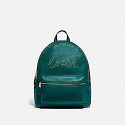 MEDIUM CHARLIE BACKPACK WITH STUDDED COACH SCRIPT - F84721 - IM/VIRIDIAN