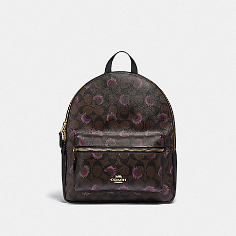 COACH F84723 MEDIUM CHARLIE BACKPACK IN SIGNATURE CANVAS WITH MOON PRINT IM/BROWN-PURPLE-MULTI