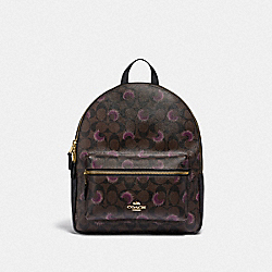 MEDIUM CHARLIE BACKPACK IN SIGNATURE CANVAS WITH MOON PRINT - F84723 - IM/BROWN PURPLE MULTI