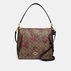 MARLON HOBO IN SIGNATURE CANVAS WITH VICTORIAN FLORAL PRINT - F84729 - IM/KHAKI BERRY MULTI