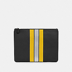 COACH F84737 - LARGE POUCH WITH VARSITY STRIPE QB/BLACK/BANANA/SILVER