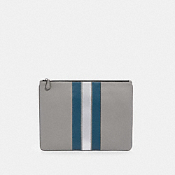 LARGE POUCH WITH VARSITY STRIPE - F84737 - QB/HEATHER GREY/AEGEAN/SILVER