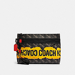 CARRYALL POUCH WITH HORSE AND CARRIAGE PRINT - QB/BLACK MULTI - COACH F84738