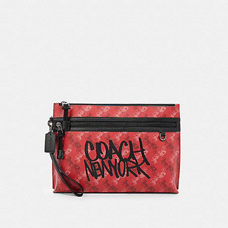 COACH F84738 CARRYALL POUCH WITH HORSE AND CARRIAGE PRINT QB/BRIGHT RED MULTI
