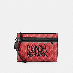 COACH F84738 - CARRYALL POUCH WITH HORSE AND CARRIAGE PRINT QB/BRIGHT RED MULTI