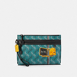 COACH F84738 Carryall Pouch With Horse And Carriage Print QB/VIRIDIAN SAGE MULTI