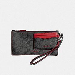 COACH F84741QBPKG - SLG TRIO IN SIGNATURE CANVAS QB/CHARCOAL SPORT RED