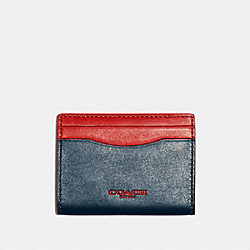 COACH F84744 Magnetic Card Case In Colorblock AEGEAN SPORT RED
