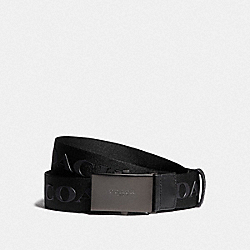 COACH F84746 Plaque Buckle Belt With Coach Print, 35mm QB/BLACK MULTI