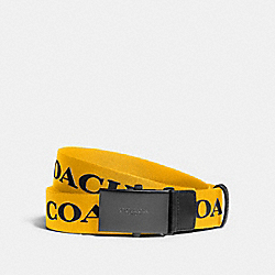 COACH F84746 Plaque Buckle Belt With Coach Print, 35mm QB/YELLOW MULTI